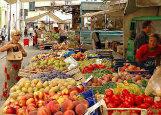 Tuscan open air fruit market